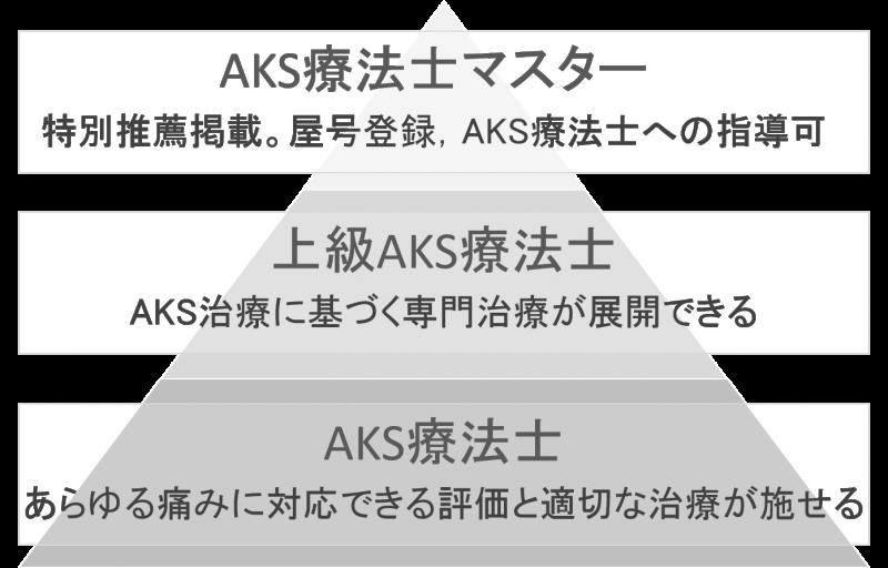 AKS療法士の認定資格である3階級層を示すイラスト